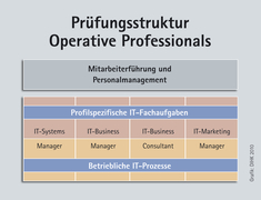 Darstellung zur Prüfungsstruktur und Personalmanagement für Operative Professionals, diese gliedert sich in profilspezifische IT-Fachaufgaben und betriebliche IT-Prozesse.IT-Business, IT-Systems und IT-Marketing obliegen Manager, IT-Business dem Consultan